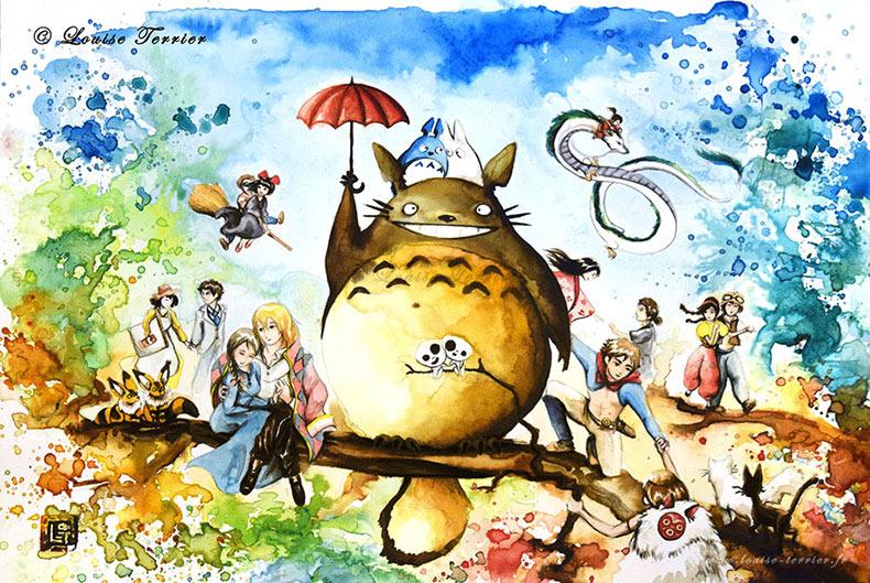 Personajes del Studio Ghibli re dibujados en pinturas de la acuarela