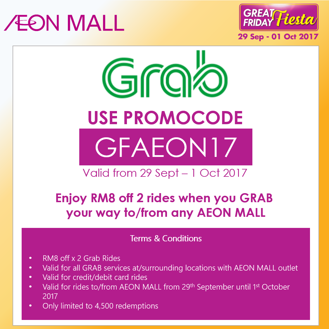 Grab Promo Code RM8 Discount x 2 Rides to / from Any AEON Mall 29