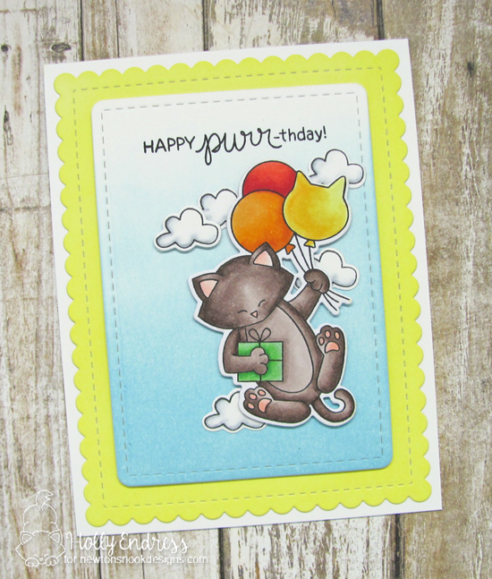 Cat with Balloons Birthday Card by Holly Endress | Newton's Birthday Balloons Stamp Set by Newton's Nook Designs #handmade #newtonsnook