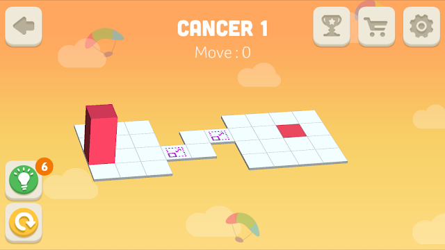 Bloxorz Cancer Level 1 step by step 3 stars Walkthrough, Cheats, Solution for android, iphone, ipad and ipod