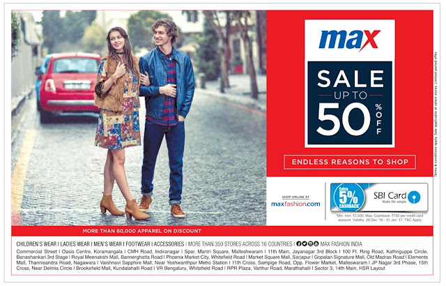 Bangalore Max - Sale Up to 50% off | December 2016 year end sale | Christmas festival discount offers