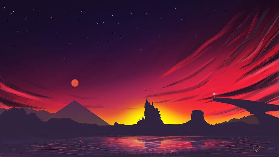 Minimalist, Sunset, Scenery, Landscape, Digital Art, 4K, #6.1039