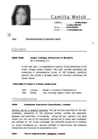 resume writing samples download - English Resume Template Free Download