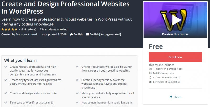 100 Free Create And Design Professional Websites In WordPress