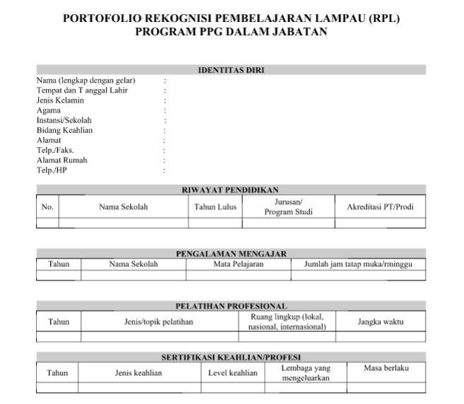 Contoh Format Portofolio Rekognisi Pembelajaran Lampau Rpl