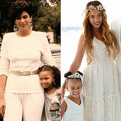 Beyonce's mom Tina (left) and her daughter Blue Ivy (right)