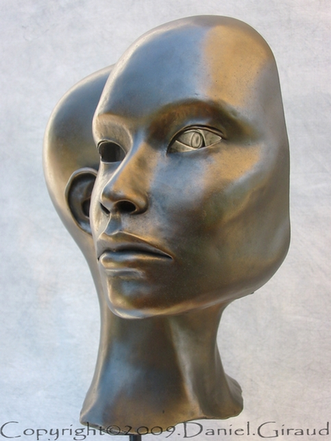 sculpture contemporaine visage articulé