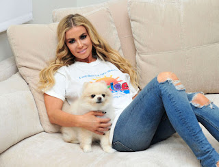 Carmen Electra With Her Dog On The Set Of A Photoshoot
