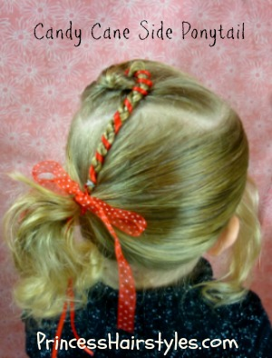 Christmas Hairstyles Candy Cane Side Ponytail