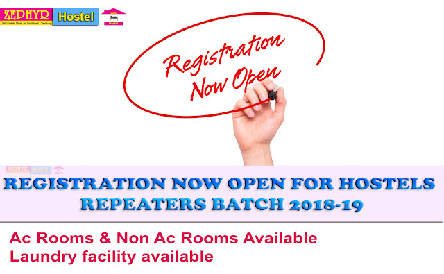 Ac Rooms & Non Ac Rooms Available, Laundry Facility Available, Registration Now Open For Hostels Repeaters Batch 2018-19, Registration Now Open