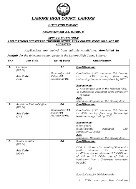 LAHORE HIGH COURT JOBS - Jobs View
