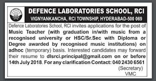 DLS RCI Hyderabad Music Teacher Notification 2018