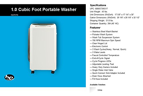 RV washing machine Haier HLP21N Pulsator 1-Cubic-Foot Portable Washer