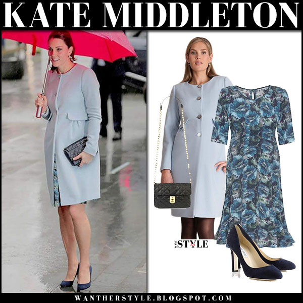 Kate Middleton in baby blue coat seraphine natasha and blue floral dress seraphine florrie baby bump maternity fashion january 24