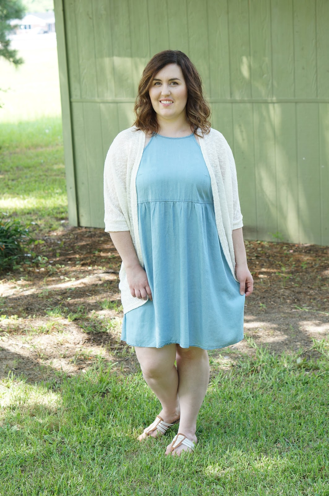 Rebecca Lately Target Chambray Swing Dress Cream Cocoon Cardigan Target DV Sandals