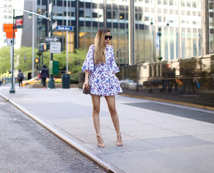 Thakoon romper, Zac Zac Posen Eartha Iconic Grommet Accordion Crossbody, Kendra Scott Sayers Statement Earrings in Gold, karen walker super duper sunglasses, jeffrey campbell sandals, nyc street style, spring outfit ideas