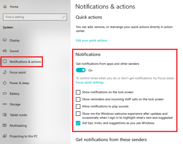 Notification & action
