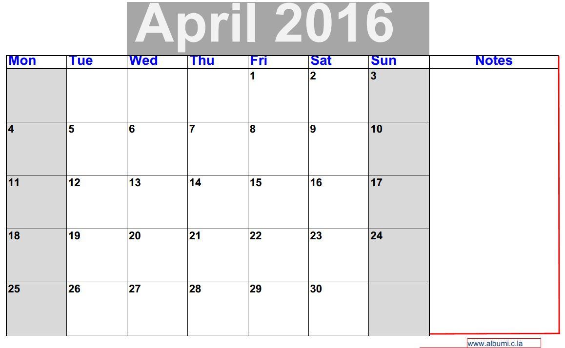 Calendar Grid : April calendar to print blank