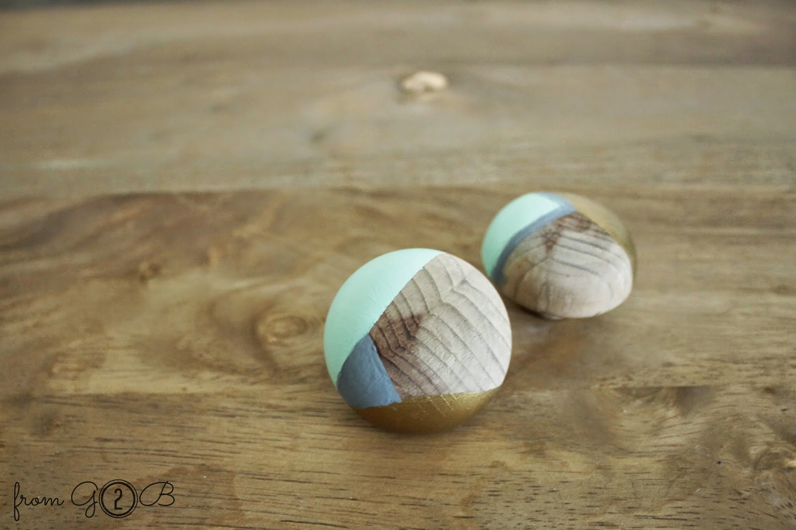 From Gardners 2 Bergers Color Blocked Wooden Knobs