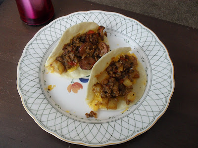 Two Ground Beef and Potato Hard-Shell Tacos