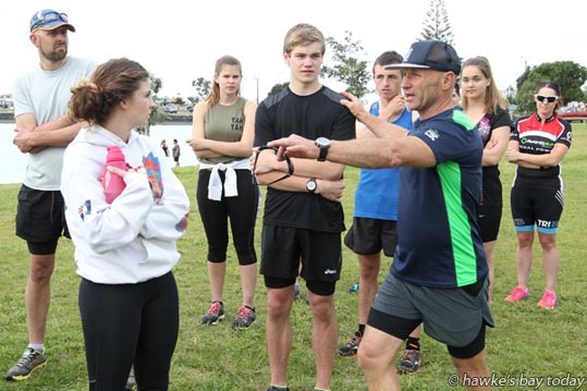 Steve Gurney, Coast to Coast Ambassador, instructing a practical skills workshop in rock running and bike bunch riding at Pandora Pond, Napier.  photograph