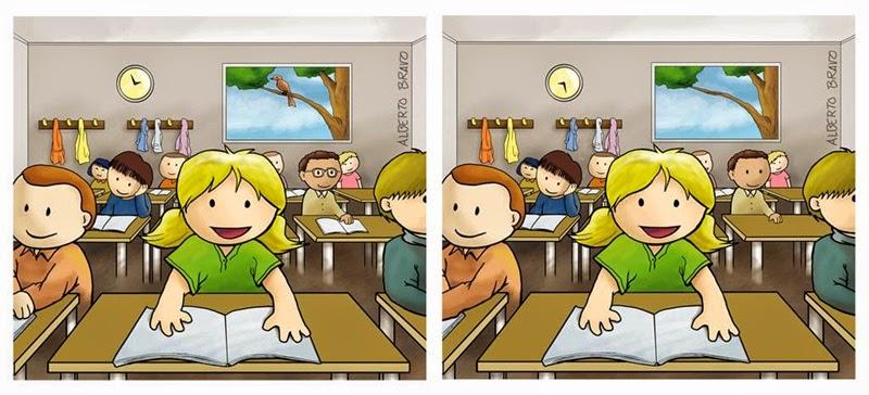 Maestra de Primaria Encuentra las diferencias Dibujos a color