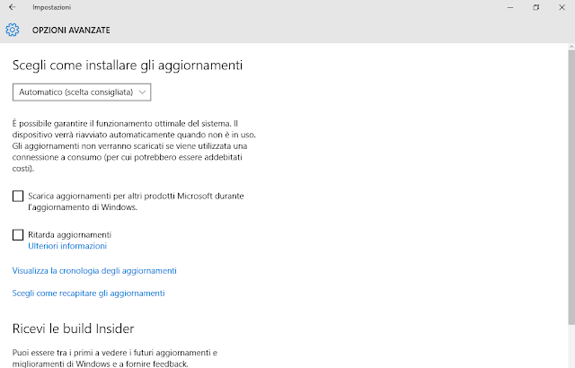 Windows 10: Windows Update opzioni avanzate