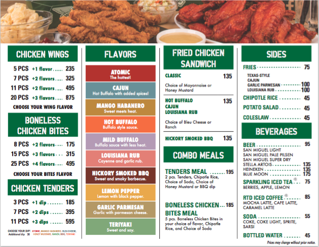 image about Wingstop Printable Menu identify Wingstop cafe - Sleeping bag with pillow