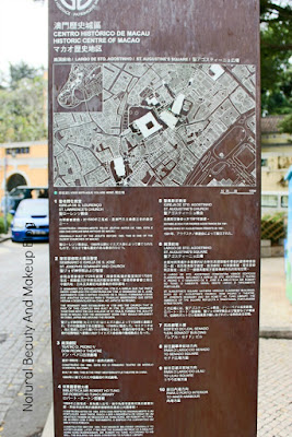 Historic Centre Of Macao signboard displaying UNESCO listed World Heritage Sites at  St. Augustine's Square, Macau