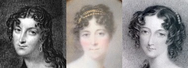 Left: Lady Jersey from The Illustrated Belle Assemblée (1844)  Centre: Miniature shown above © Jayne Parkes  Right: Lady Jersey from a print on display at Osterley Park