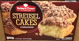 A box of Baker's Treat Cinnamon Streusel Snack Cakes, from Aldi