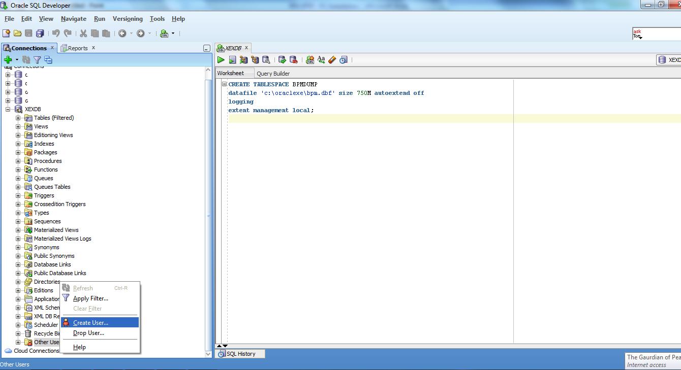 S7U Blogspot com: Configure Oracle DB for IBM BPM Install