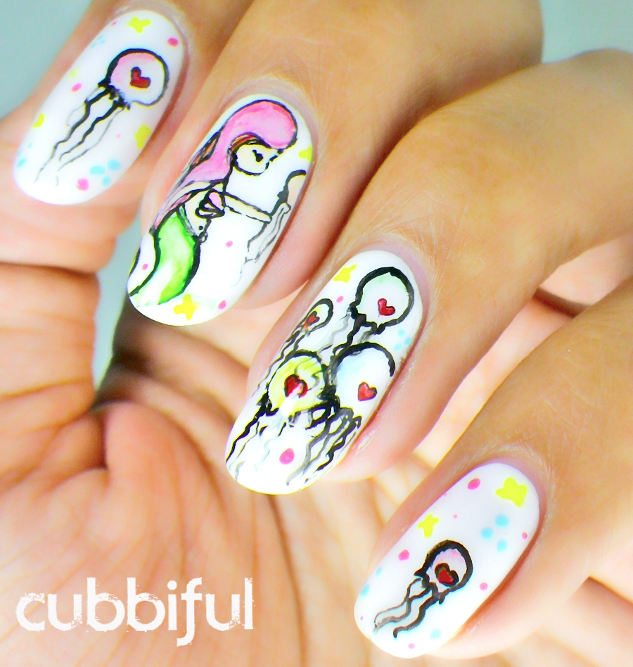 kawaii mermaid nails