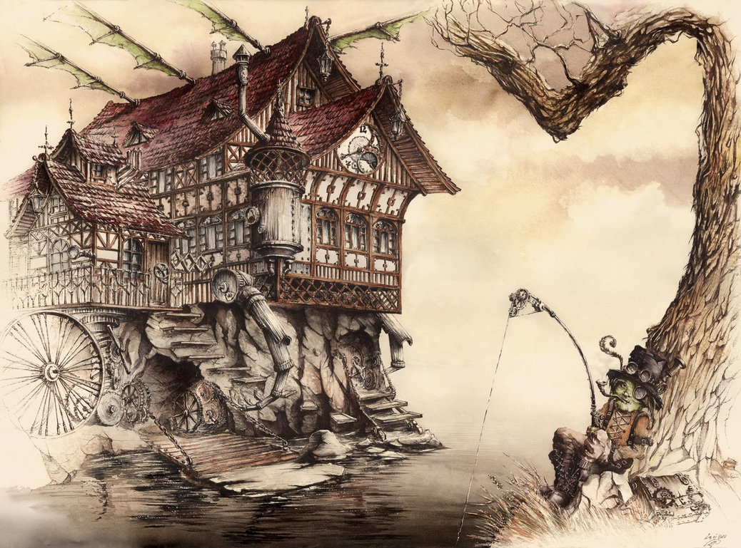 01-Steampunk-Landscape-Elwira-Pawlikowska-Gothic-and-Steampunk-style-Architecture-with-Ink-and-Watercolor-Illustrations-www-designstack-co