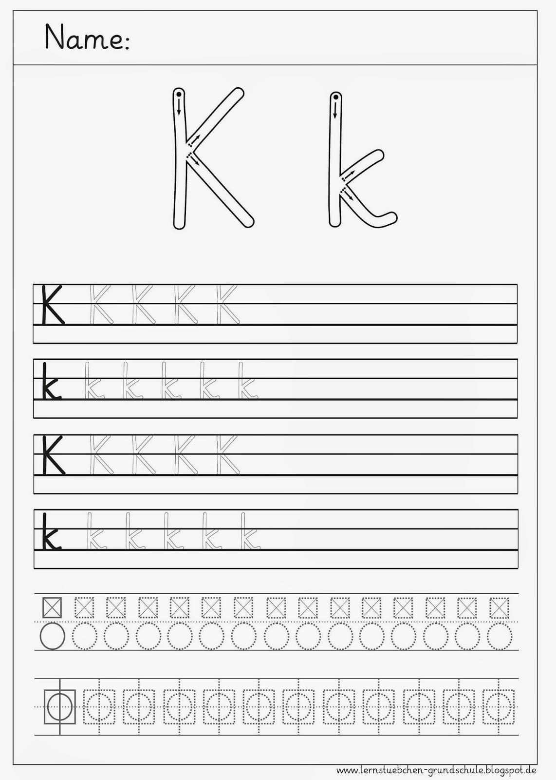 Lernstbchen: Schreibbltter zum K - k
