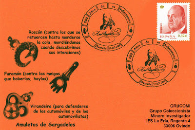 Tarjeta del matasellos del bicentenario del fallecimiento del Marqués de Sargadelos, en Santa Eulalia de Oscos