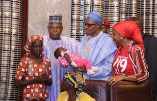 Rescued Chibok girl, Amina meets President Buhari