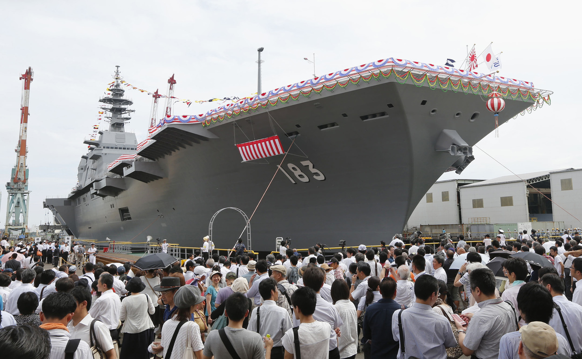 american innovation  the ese maritime self defense force jmsdf recently launched the largest ese warship since world war ii the 820 foot long 24 000 ton izumo