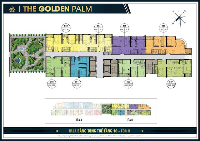 Mặt bằng tầng 10 tòa B chung cư The Golden Palm