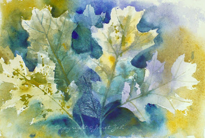 Oak leaves in gold, green and blue