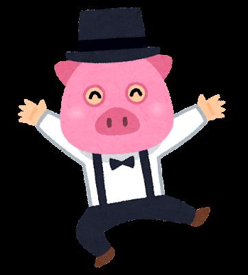 豚の被り物をかぶる男性