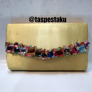Tas Pesta Gold EMas Payet Warna Warni Clutch Bag