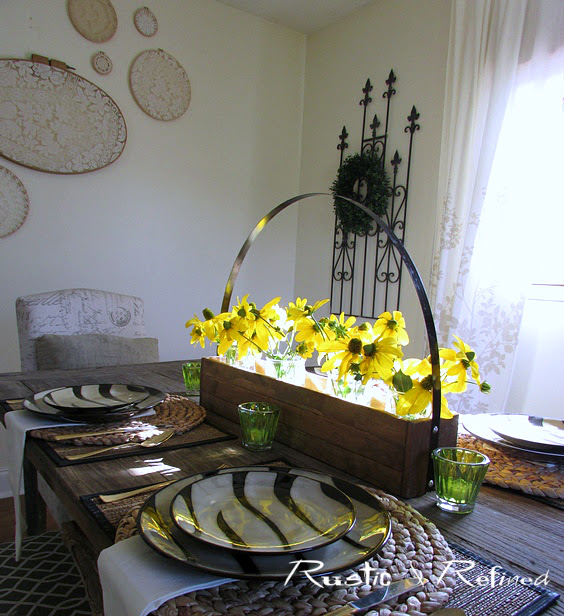 Farmhouse table setting with fresh flowers