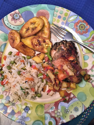 Jerk Chicken Meal with fried plantains