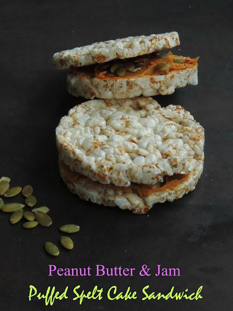 Puffed spelt cake sandwich with Peanut butter & jam