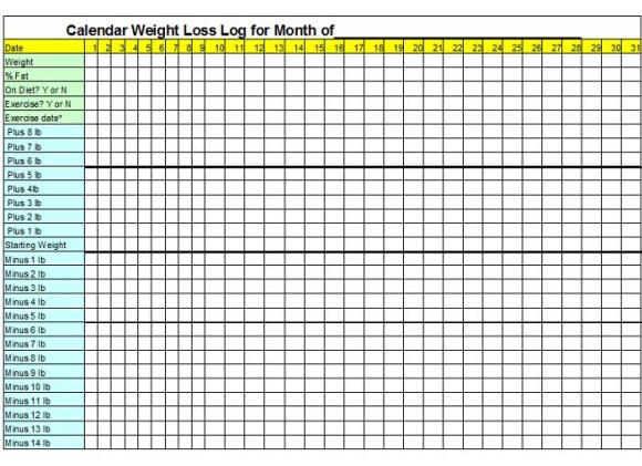 Printable Weight Loss Chart For Group