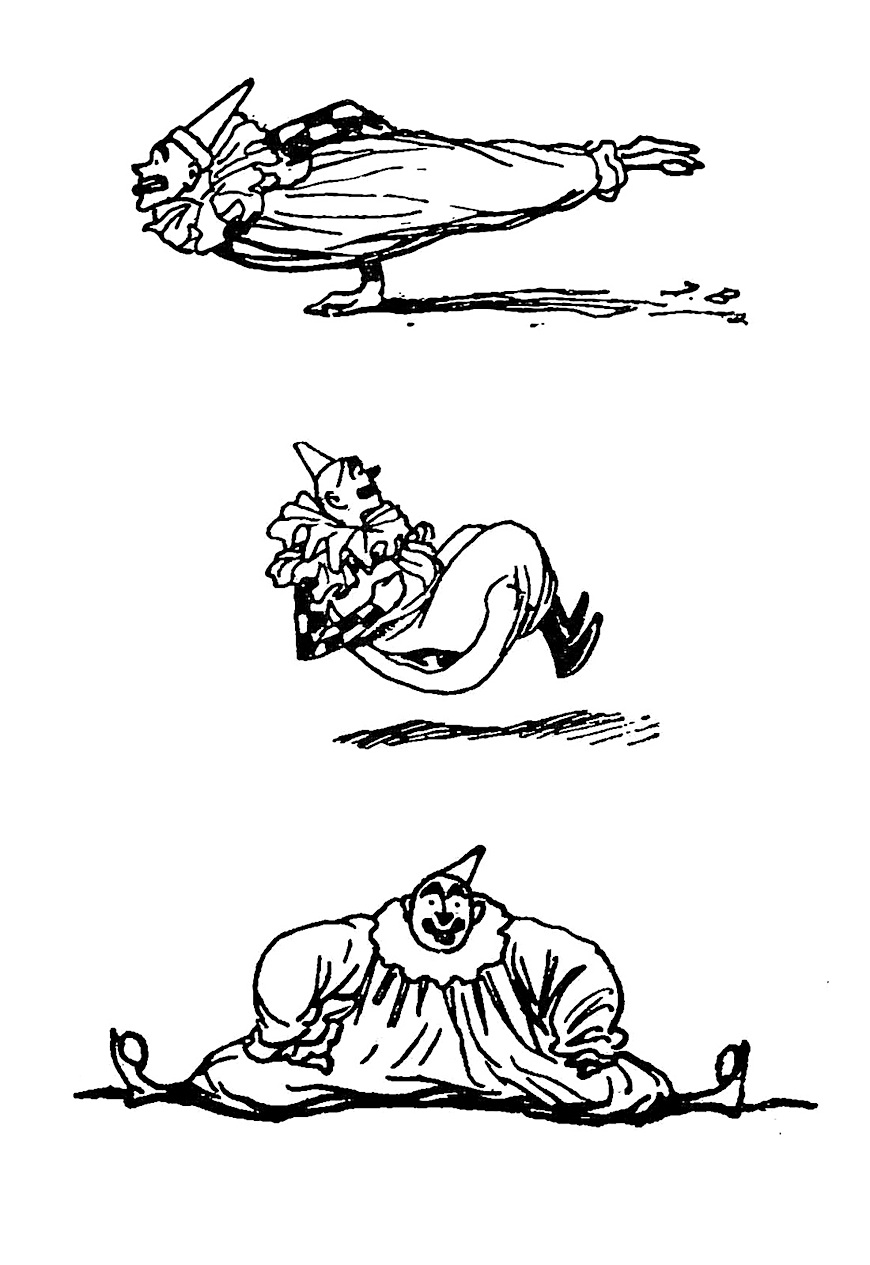 cartoon illustrations of an 1889 French clown