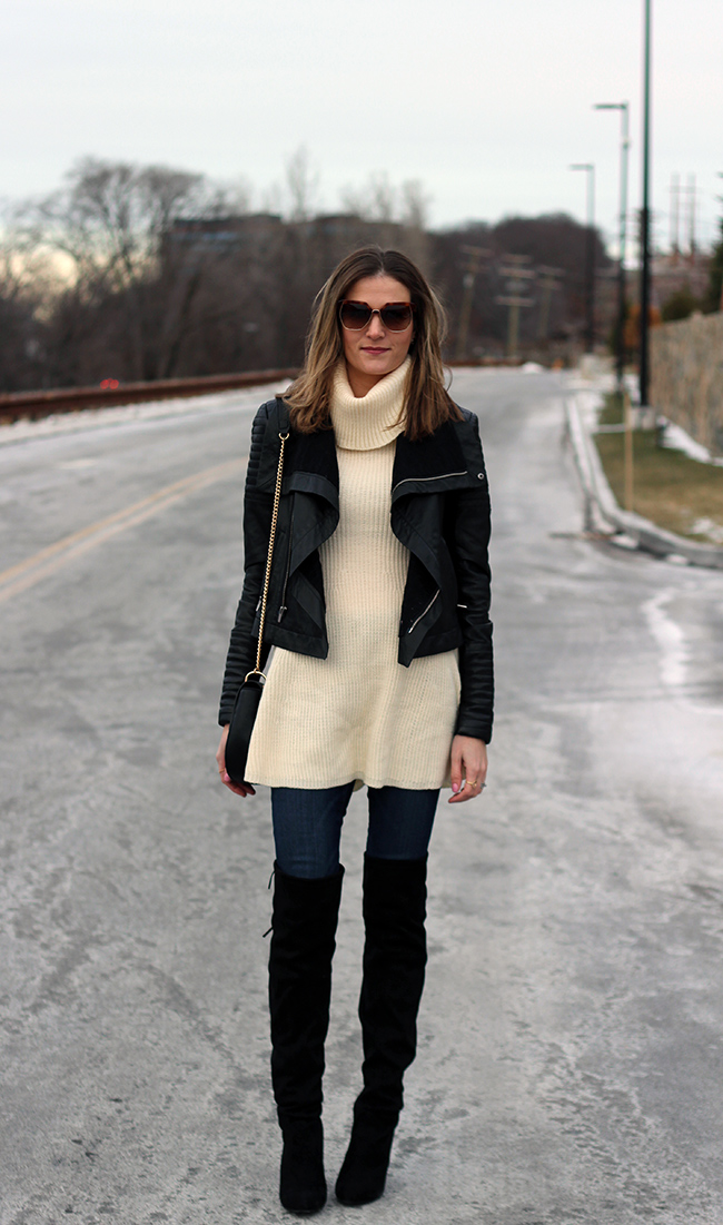 cfaf685c01e1 Dress c/o Chicwish| Jeans: Goldsign| Boots: Steve Madden| Leather Jacket:  Veda| Bag: Forever 21 (sold out but very similar here and here)| Sunnies:  Chloé