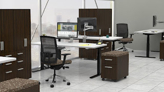 Office Interior with Sit To Stand Furniture