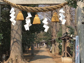 A picture showing a gate to a Shinto shrine with white jagged shide paper hanging down form a thick rope